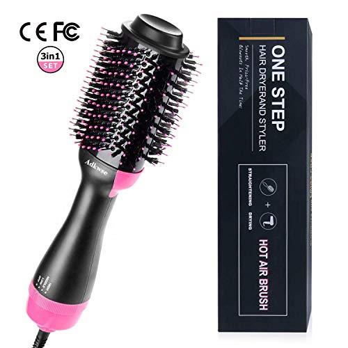 Adkwse Brosse Soufflante,Salon One-step Sèche Cheveux Volumisant, Brosse Lissante Chauffante Ionique, Electrique Multifonctionnels Styler Brosse à Cheveux à ions Négatifs