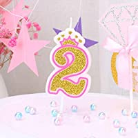 T-shin Glitter Number 2 Birthday Candle,Gold Number With Crown Candles,Long Thin Anniversary Candles Set,Party Supplies,Cake Decoration (GOLD-2)