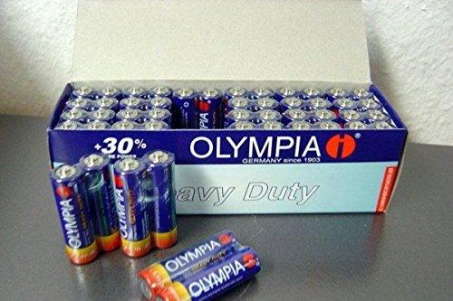 Preisvergleich Produktbild 48 x Original Olympia AA Batterien, R6 Mignon, Packung mit 48 Stück, Neu, Lesen