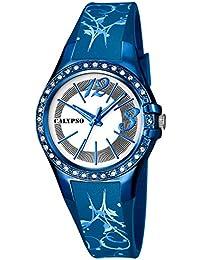 Calypso Watches Armbanduhr Damenuhr Analoguhr 10 ATM mit Glitzersteinchen-Besatz K5624, Farbe:blau