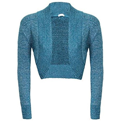 Damen Langärmliges Strick Shrug Glitter Bolero Cardigan Frauen Glitter Top Türkisblau