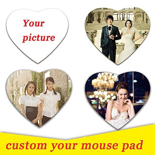 Hardon Individuelles Mousepad mit eigenem Foto, Herzform Mauspad gestalten, individualisierbar mit Ihren Bildern und auch Text nach Wahl -