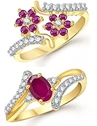 Meenaz Jewellery Gold Plated Ruby Red Finger Rings And American Diamond Ring Jewellery Set For Women - Combo-001