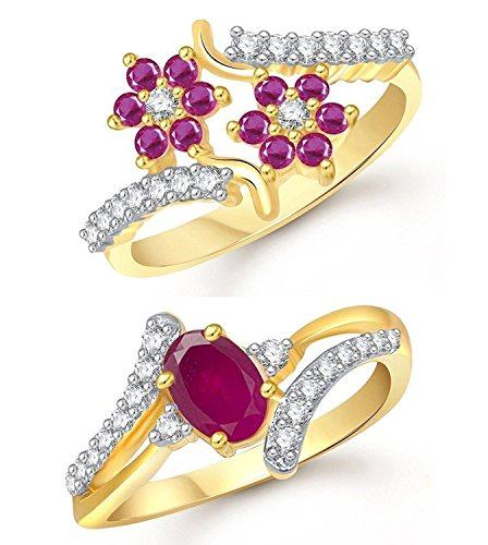 Meenaz Jewellery Gold Plated Ruby Red Rings For Girls & Women In American Diamond Cubic Zirconia Crystal Ring Jewellery set for women - Finger Ring Combo-001