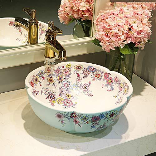 Braun Marmor-glas (QJJML Jingdezhen Keramik BlüTenblatt Waschbecken, EuropäIsche Moderne Badezimmer Kunst Waschbecken Waschbecken,D)