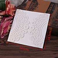 Dabixx boda Tarjetas de invitación Kit 10Unidades con sobres Juntas de arroz impresión de flores blancas D 14,4x 14,4cm