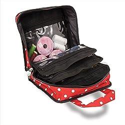 Bolsa para accesorios de costura, punto y manualidades, de color rojo con lunares