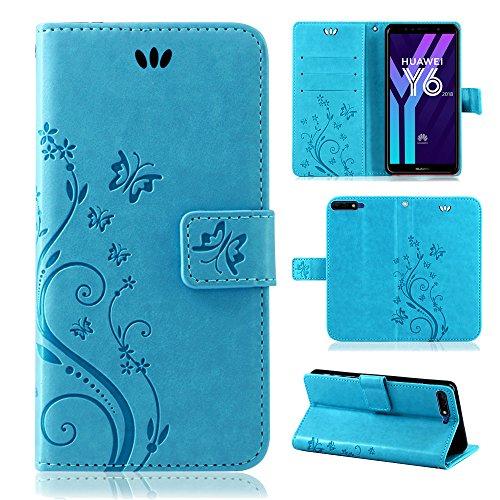 betterfon Flower Case Handytasche Schutzhülle Blumen Klapptasche Handyhülle Handy Schale für Huawei Y6 2018 Blau