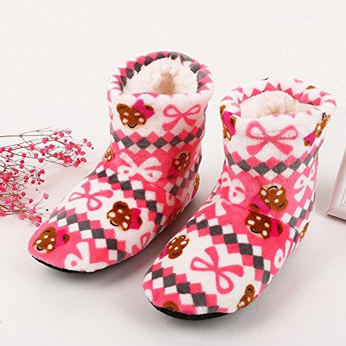 Fankou den Boden Schuhe Winter dick Rutschfeste home Schuhe weiblichen Erwachsenen warme Stiefel, und indoor Schuhe, blau Baumwolle Mop (36-39) (Rosa Stiefel Mops)