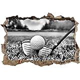 Monocrome, Golf Abschlag Wanddurchbruch im 3D-Look, Wand- oder Türaufkleber Format: 62x42cm, Wandsticker, Wandtattoo, Wanddekoration