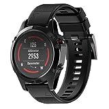 Uhrenarmbänder, KanLin1986 Correa de silicona de silicona de repuesto para Garmin Fenix 5 GPS Watch (Negro)