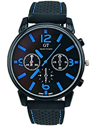 Reloj de hombre - GT Reloj de pulsera de acero inoxidable de banda de silicona de hombre Numero azul