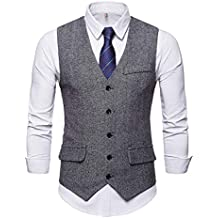 JOLIME Gilet Costume sans Manches Homme Vintage Tweed Herringbone Casual  d affaires Mariage 6ad998f03b2