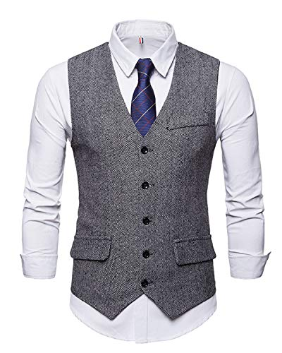 JOLIME Gilet Costume sans Manches Homme Vintage Tweed Herringbone Casual d'affaires Mariag
