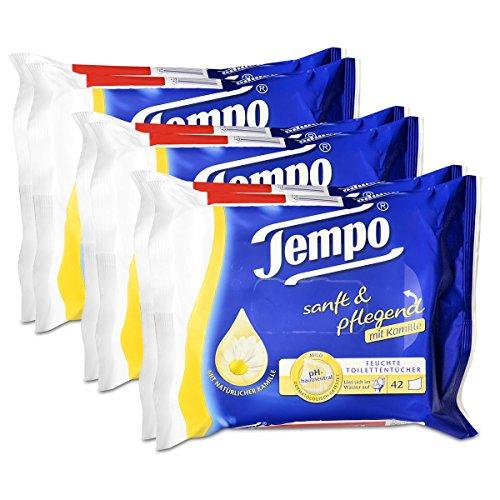 3x Tempo Feuchte Toilettentücher sanft & pflegend Duo-Nachfüllpackung, mit Kamille 2x42er -