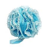 Lalang 1 Stück Bathe Ball Packung mit Netzstrumpf Dusche Pouf Bad Exfoliate Schwamm Luffa Blumen-Spitze-Kugel (blau)