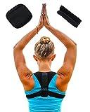 Schulterbandage inkl. 2 Polster Geradehalter Rückenbandage Rückenstütze Schulterstabilisator für Mann und Frau beim Sport und im Büro von REFEELHEALTHY