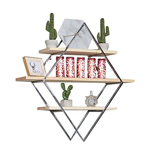Étagère murale en bois de 3 niveaux et supports en acier inoxydable suspendus étagère pour chambre à coucher comme étagère de stockage étagère Vintage Design décoration industrielle (80 × 20 cm)