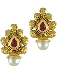 Adiva Kundans Jewellery Maroon Metal Alloy Studs Earrings For Women