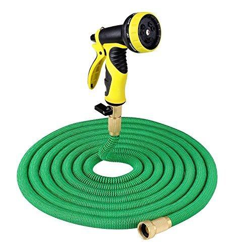 PLUSINNO Flexibel Schlauch, Flexibler Dehnbar Gartenschlauch Wasserschlauch Set für Bewässerung Gartenarbeit Autowäsche Reinigung (7.62m, Grün)