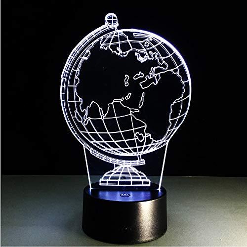 Crjzty Nueva Ilusión 3D Lámpara De Noche Decorativa Creativa Globo Terráqueo Atmósfera Diy Bombillas Usb Luz De Noche De Fiesta Usb Con Cambio De 7 Colores