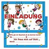 12 Lustige Kinder Einladungskarten im Set für Kindergeburtstag / Klettern / Einladung Zum Geburtstag für Jungen und Mädchen / 12er Kartenset