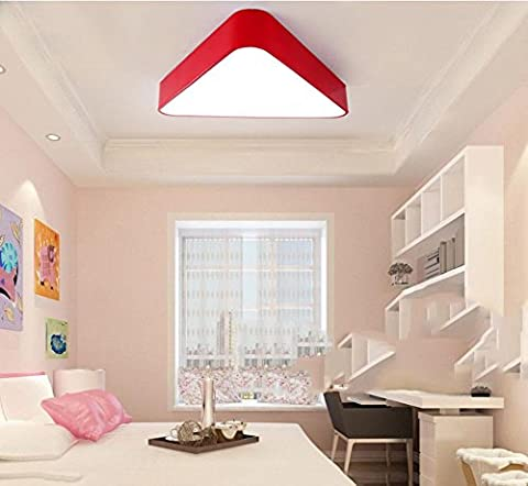 Deckenleuchte Dreieck LED Moderne Einfachheit Kreative Lampen Jungen und Mädchen Wärme Schlafzimmer , red , 45cm