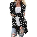 Loveso-Outwear Mäntel Frauen Frauen-beiläufigelange Hülse Striped Cardigans Patch work Outwear (S, Schwarz)