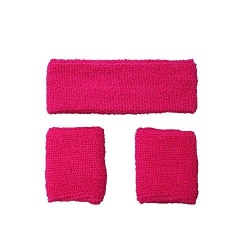 Adult Unisex 80's Neon Pink Sweatband & Wristbands