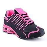 Fusskleidung Herren Damen Sneaker Sportschuhe Lauf Freizeit Neon Runners Fitness Low Unisex Schuhe Schwarz/Fuchsia-W EU 38