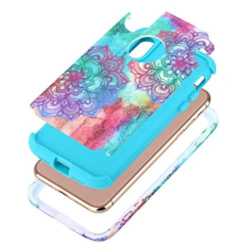 iPhone X Hülle, Lantier Henna Mandala Floral Flowers / Butterflies / Marble Hybrid Armor TPU + Plastic Heavy Duty Bumper High Impact Shockproof Durable Case für Apple iPhone X Mandala Blau