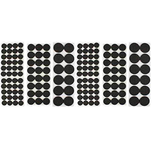 com-four® 160-teiliges Set Selbstklebende Möbelgleiter, Filzgleiter in schwarz, runde Stuhlgleiter (160 Stück - Schwarz Rund Set 2)
