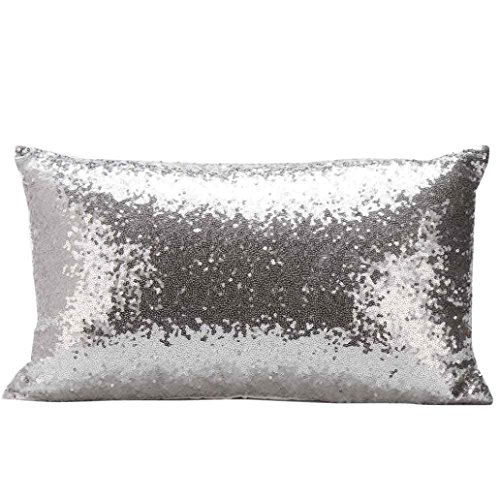 Indexp Rectangle Sequins Throw Cushion Cover Sofa Home Decoration Festival Pillow case (Silver)