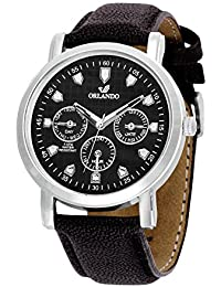 Orlando® Branded Japan Movement Chronograph Look With Black Dial & Black Leather Belt Watches For Men - W1302BK03BXZXZ