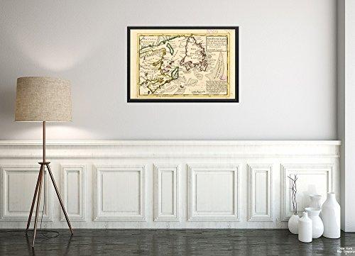 1732 Landkarte New France (ehemals Abteilung), Kanada, Saint Lawrence, Golf of, New Found LH, Historischer Vintage-Stil, Nachdruck, fertig zum Einrahmen
