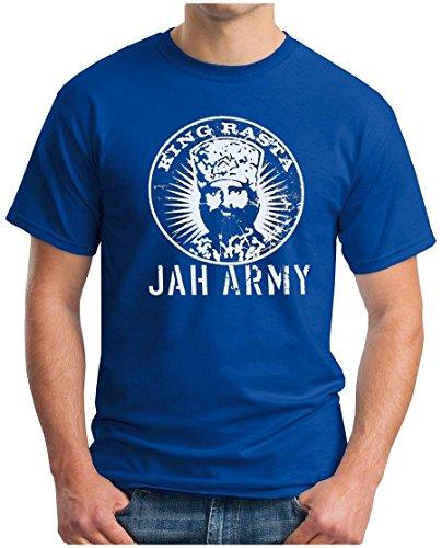 OM3 KING RASTA - T-Shirt Jah Army Roots Reggae Dancehall Ragga Irie Dub Music Dope Ganja Swag, S - 5XL Royalblau