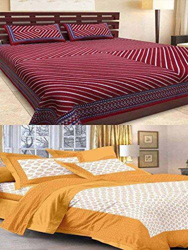 Bombay Spreads Multi Color 100% Pure Cotton Full Size 2 Double Bed Sheet Set with 4 Pillow Cover Elegant Design for Bedding or Decoratuve (Jaipuri Bed Spreads)