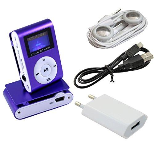 IPRIME® Mini MP3 Player mit LCD bis 32 GB ohne Micro SD Karte mit Kopfhörer, Ladegerät Netzteil Netzstecker, eingebautem Akku und Befestigungsclip - Violett Lila (Lila-mp3-player 32 Gb)