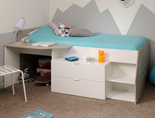 Mit Unter Etagenbett Platz (Hochbett Mika A 90x200cm weiß grau Kinderbett Kommode Schreibtisch Jugendzimmer Kinderzimmer)
