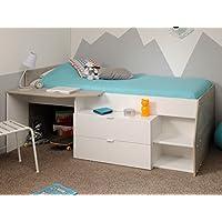 Hochbett Mika A 90x200cm weiß grau Kinderbett Kommode Schreibtisch Jugendzimmer Kinderzimmer preisvergleich bei kinderzimmerdekopreise.eu