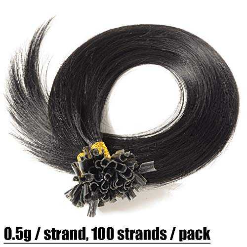 Extension capelli veri cheratina 100 ciocche - 40cm #1 jet nero - 100% remy human hair pre bonded u tip nail hair capelli naturali lisci 0.5g/fascia