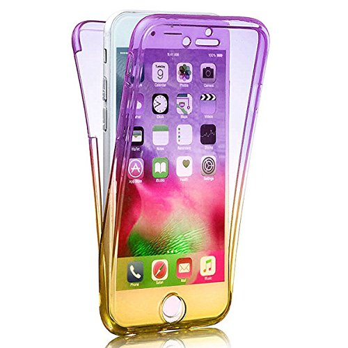 Ekakashop Davanti e dietro Full Body 360°Protective Case Cover Custodia, iPhone 7 plus Cover,iPhone 7 plus Case TPU Lusso Gradient Color Shockproof Scratch-Resistant Ultra Slim Flexible Soft Gel Crist Viola Giallo