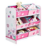 Flowers and Birds Kids Bedroom Storage Unit with 6 Bins by HelloHome