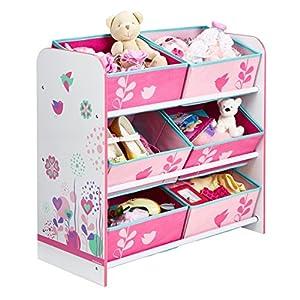 Blumen und Vögel – Regal zur Spielzeugaufbewahrung mit sechs Kisten für Kinder
