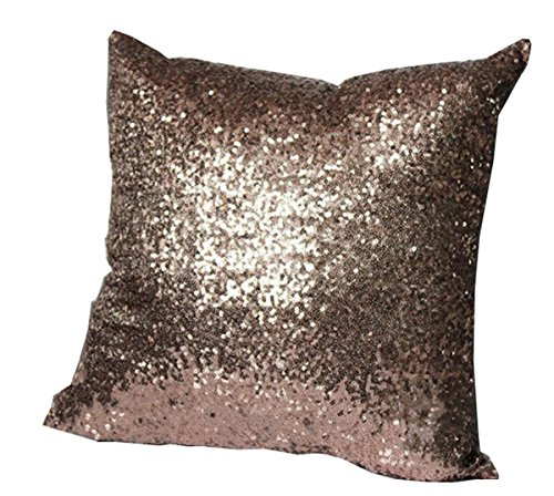 EJY Stilvolle Comfy Farbe Pailletten Kissenbezug Dekokissen Fall-Café-Dekor 40X40CM (braun)