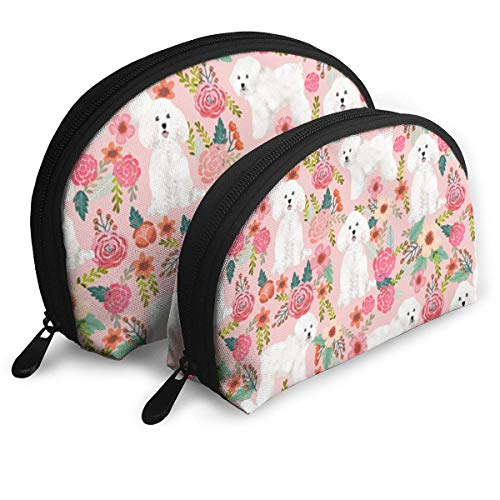 Bichon Frise Fabric Flowers Portable Reise-Kosmetiktaschen Organizer Set of 2 for Women Teens Girls