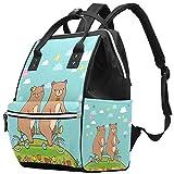 Zaino multifunzione grande per pannolini, con coppia di orsacchiotti in tandem per bicicletta nelle periferie, borsa per pannolini da viaggio per mamma e papà