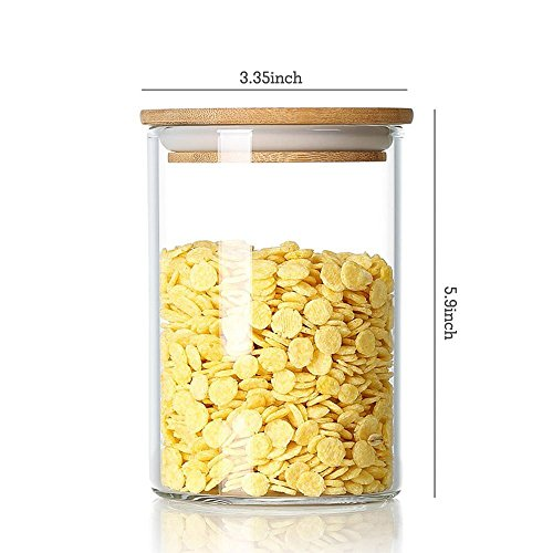 DecentGadget 870ml Clear Borosilicate Glass Airtight Canister with Bamboo Lid and Silicone Sealing Ring Storage Jar for Candy Tea Cookie Nuts Cereal // Löschen Sie Borosilikatglas-luftdichter Kanister mit Bambusdeckel und - Tee-ring-cookies
