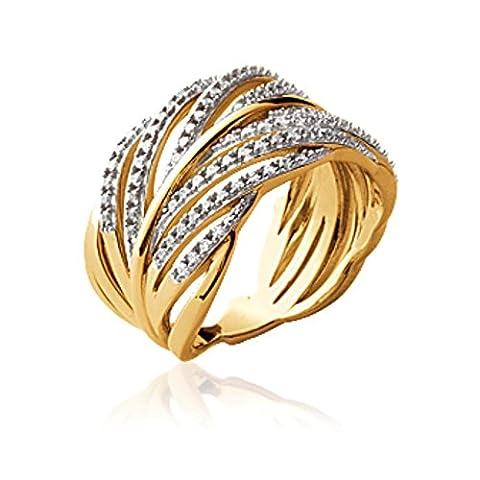 ISADY - Dominique Gold - Bague Femme - Plaqué Or 750/000 (18 carats) - Oxyde de zirconium transparent - Taille 60