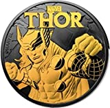 2018 Island Nation of Tuvalu, Thor, 1 oz (31.1g) .999 Pure Silver, 24 Quilates Gold Relief Obverse...